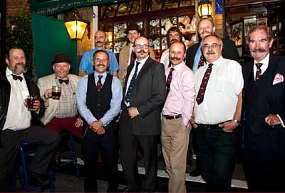 Handlebar Club members outside The Windsor Castle  Photo ©Stephanie Wolff