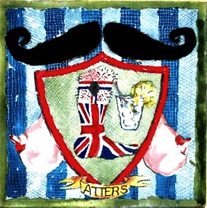 Atters' moustache inspired artwork.