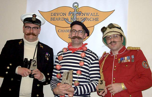 Allan, Ryan and James claiming first, second and third places in the two moustache categories