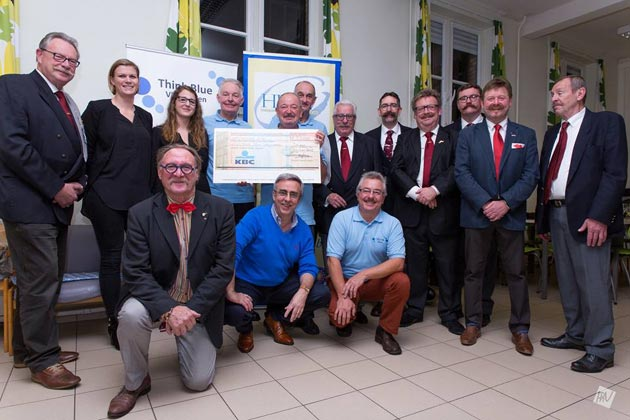 Allan Robinson and Ryan Pike at the West Vlaamse Snorrenclub presentation of @euro;300 to the Flanders 'Think Blue' campaign