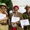 Handlebar Club Moustache Category Winners at the Hitchin Beard and Moustache Competition. L-R: 1st Allan Robinson, 2nd Chris Wall, 3rd James Dyer